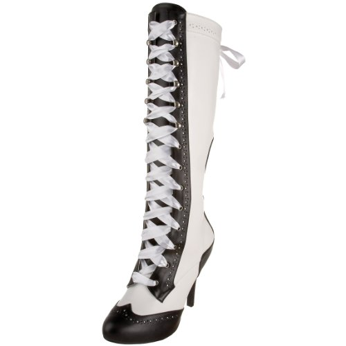 Pleaser Women's Tempt-126 Lace-Up Boot - White/Black Synt...