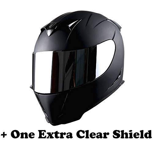 1STorm Motorcycle Full Face Helmet Skull King Matt Black+ One Extra Clear Shield, Size X-Large Size XL (59-60 CM,23.2/23.6 Inch)