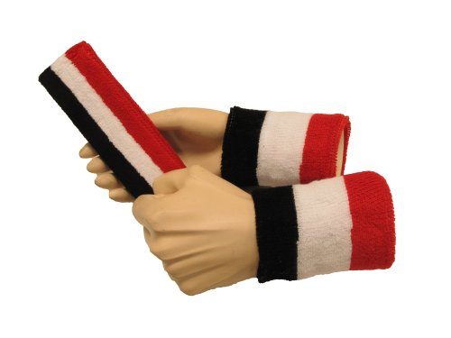 COUVER Black/White/Red Terry Sports Sweat Headband, Wristband Set