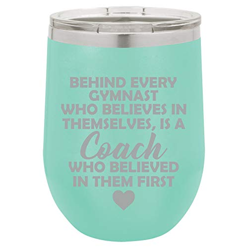 12 oz Double Wall Vacuum Insulated Stainless Steel Stemless Wine Tumbler Glass Coffee Travel Mug With Lid Gymnastics Coach Gift (Teal)