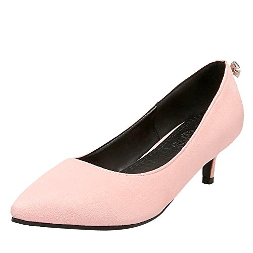 MissSaSa Damen Spitz stiletto Schleife Strass Pumps Pink(4.5)