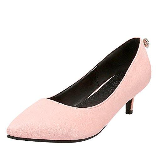 Charm Foot Womens Elegant Pointed Toe Low Heel Pumps Shoes Pink K3nMZ
