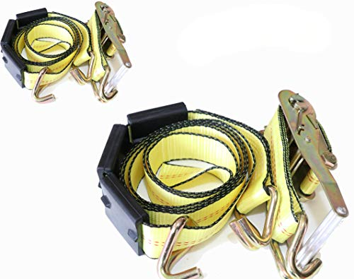 DKG-304 Yellow Heavy Duty Double J Hook Wheel Strap with Ratchet - Over Tire Wire Hook Car Hauler Tie Down - Auto Transporter Trailer Strap with Steel Ratchet - Working Load Limit of 3330 LB (2 Pack) ()