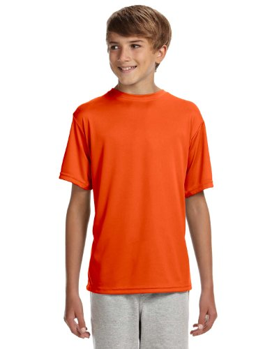 A4 Youth Cooling Performance Crew Short Sleeve, Athletic Orange, Small