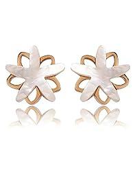 KnBoB Stainless Steel Earrings Women Lovely Double Flower Stud Earrings