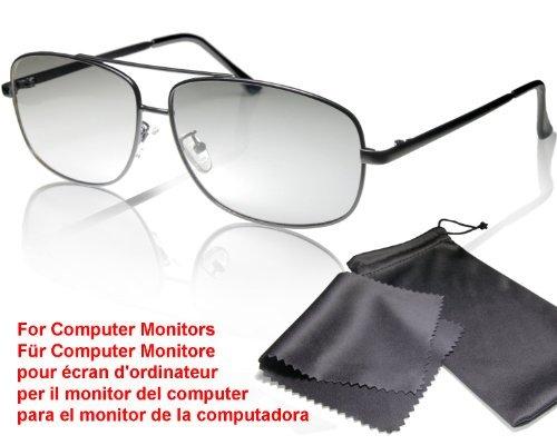 3D Fliegerbrille für Monitore - passiv, kompatibel mit LG Cinema 3D MONITORE (keine Fernseher!) bitte kompatibilitätsliste beachten - mit Brillenbeutel und Putztuch