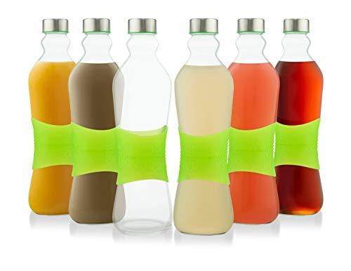 Glèur Reusable Glass Beverage Bottles 33-Oz, with a Green Strip of Silicone for Easy Grip, and A Stainless Steel Airtight Cap, Set of 6