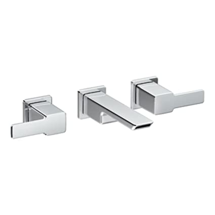 Moen TS6730 90 Degree Two-Handle Wall Mount Bathroom Faucet, Chrome ...