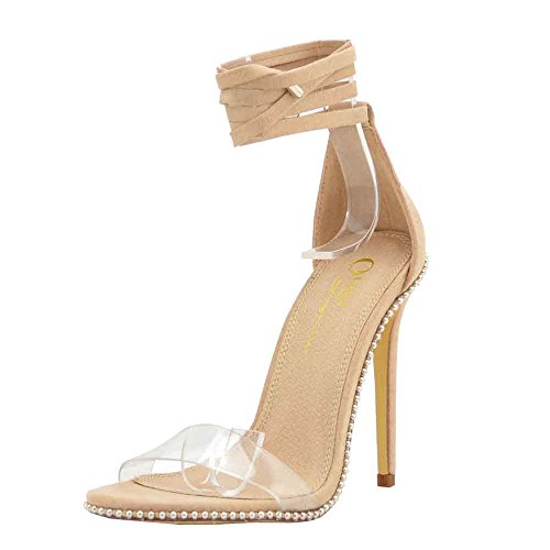 (Embellished Silver Tone Stud Clear PVC One Band High Heel Gladiator Sandals for Women (7, Camel))