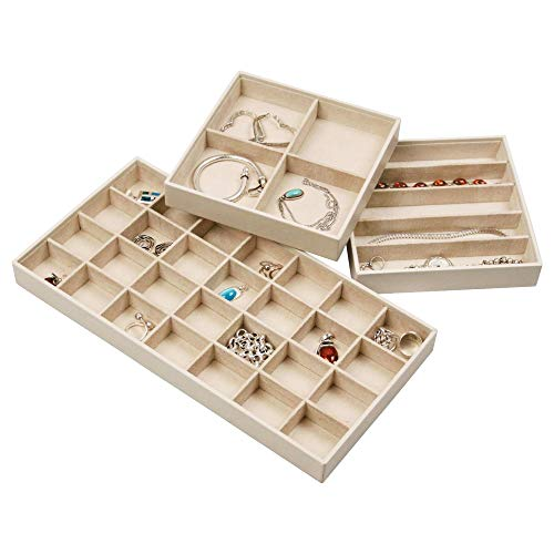 (Elegant Jewelry Trays Set of 3 Stackable Jewelry Organizer Trays for Showcasing & Storing Earrings, Bracelets, Necklaces & Rings)