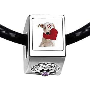 Chicforest Silver Plated Cute Love Dog Photo Light Amethyst Crystal June Birthstone Flower Charm Beads Fits Pandora Charm Bracelet