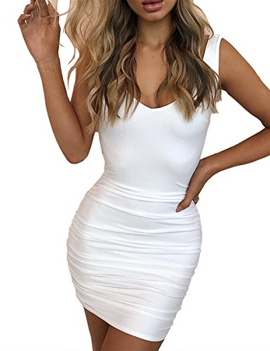 Haola Women's Deep V Neck Backless Mini Dress Sexy Club Party Bodycon Dress L White