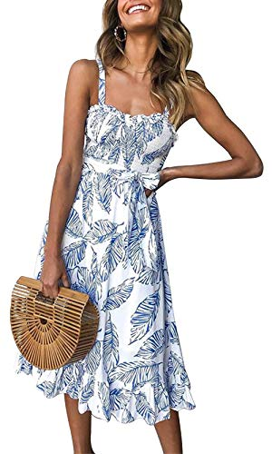 PRETTYGARDEN Women's Summer Sunflower Boho Spaghetti Strap Semi-Backless Button Down A-Line Midi Dress with Belt and Pockets (133_Blue, Medium)