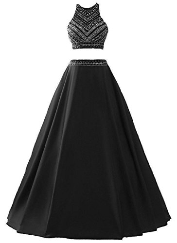 Himoda Women's Two Pieces Beaded Evening Gowns Satin Sequined Prom Dresses Long H052 2 Black