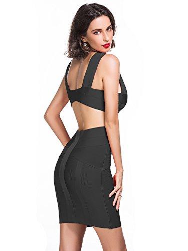 Manches Femme Robe robe Neck amp; Bandage Elmer Black Club V Alice Soir Sans Dress Coupé Rayon Deep Bodycon gYUExB
