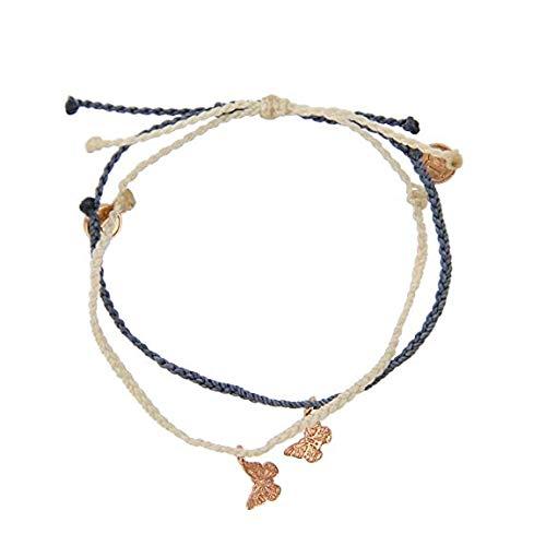 Pura Vida Bracelets Rose Gold Butterfly Charm in Vanilla and Columbia Blue 2 Bracelet Bundle Pack - 100% Waterproof by Pura Vida (Image #2)