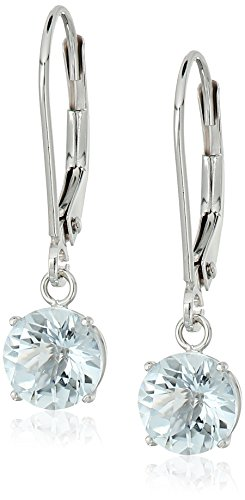 Earrings Aquamarine Leverback (10k White Gold Round Checkerboard Cut Aquamarine Leverback Earrings (6mm))