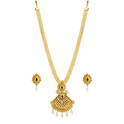 hot Bindhani Indian Bollywood Bridal Wedding Long Kundan Gold Plated Pendent-Necklace Jewelry Set For Women big discount
