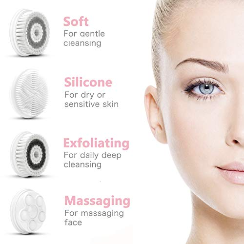 Waterproof Facial Cleansing Spin Brush Set with 4 Interchangeable Brush Heads – Complete Face Spa System by CLSEVXY…