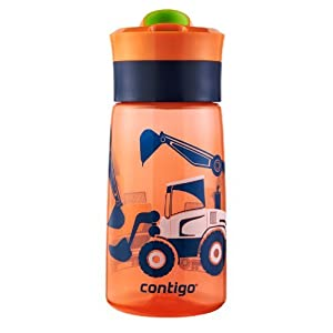 Contigo Autoseal Kids Gracie Water Bottle, 14-Ounce, Nectarine Graphic by Ignite USA