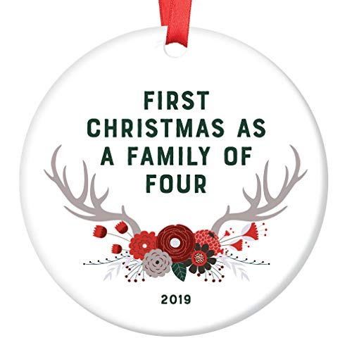 New Baby Gift 2019 Ornament Dated First Christmas as a Family of Four Parents Mother Father Present Second Child Shower Sprinkle Woodland Theme Boho Antlers Glossy Ceramic 3