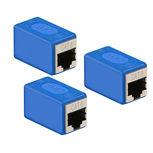 Ethernet Cable Extender Adapter - Upgrade Version, J&D Cat 6 Ethernet Coupler Extender Adapter - Support Cat6 / Cat5e / Cat5 Standards, RJ45 Adapter Cords Shielded Female to Female (3 Pack)