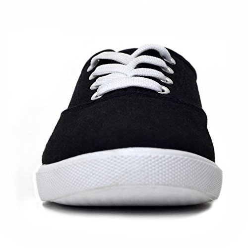 H2K Sports Womens [Lightweight] Fashion Lace-Up Comfy Cushioned Sneakers Casual Shoes Black & White QiCvDy8F