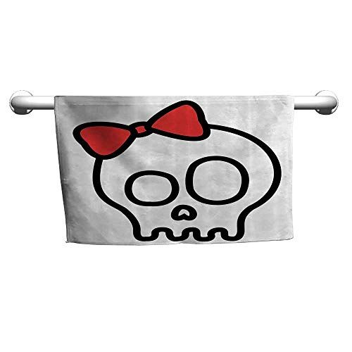 Andasrew Skulls Decorations Collection,Illustration of Baby Skull Girl with Lace and Halloween Dead Head Teen Emo Art,Red White Black,Sweat Towel for car seat -