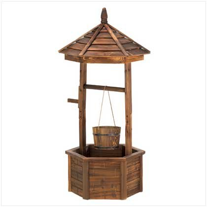 Rustic Wishing Well Bucket Outdoor Fir Wood Planter