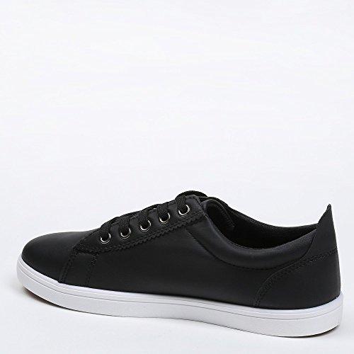 Ideal Shoes–Sneaker Herren mit Detail auf der Seite Carl, Schwarz - Schwarz - schwarz - Größe: 42