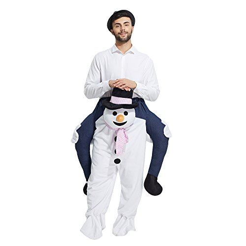 Piggyback Costume Christmas (YEDASI Piggyback Ride On Riding Shoulder Adult Costume Easter Mascot Pants (Snowman),X-Large)