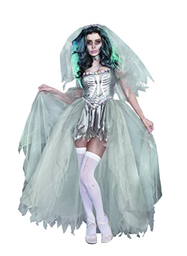 Dead Bride Costume Amazon (Dreamgirl Women's The Bride of Doom Dead Zombie Costume, Gray, X-Large)
