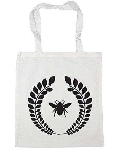 HippoWarehouse Bumble Bee corona Tote Compras Bolsa de playa 42cm x38cm, 10litros blanco