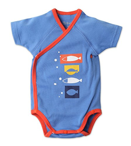 Zutano Short Sleeve Screen Body Wrap - Blue Fish Design - For 6 Month Olds