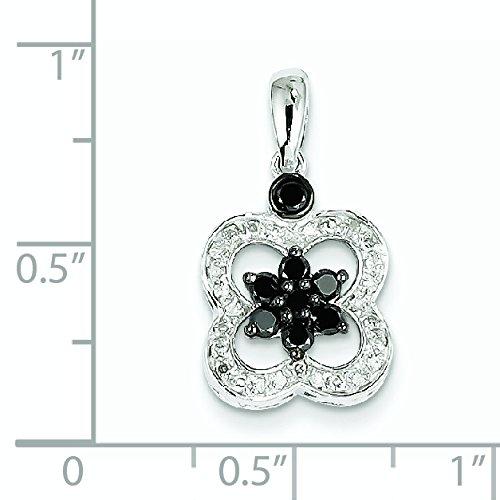 Noir et or blanc 14 carats-Diamant blanc fleur pendentif JewelryWeb