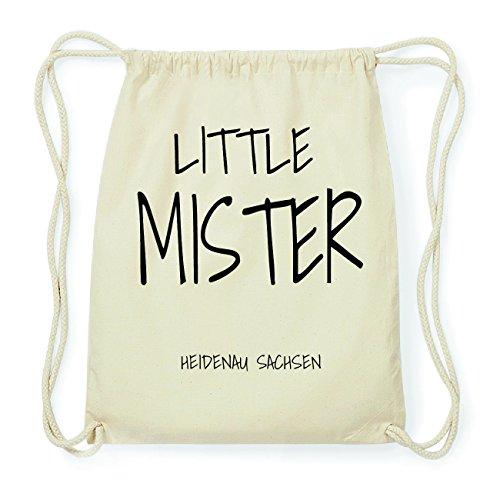 JOllify HEIDENAU SACHSEN Hipster Turnbeutel Tasche Rucksack aus Baumwolle - Farbe: natur Design: Little Mister