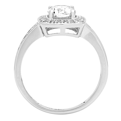 1.36ct Brilliant Round Cut Solitaire Halo Engagement Statement Anniversary Wedding Bridal Promise Ring in Solid 14k White Gold for Women, 7 by Clara Pucci (Image #1)