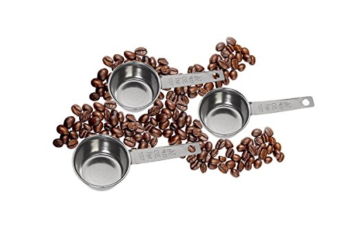 McKay Precision 1/8 Cup Coffee Measuring Scoop- Stainless Steel: Ultimate Spoon for Pouring Ground Tea, Cocoa, Sugar, Salt, Herbs Spices or any Bulk- (3 Pack)