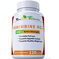 Yohimbine HCL Bark Extract Extra Strength Supplement 5mg x 120ct Capsules Premium Fat Burner, Weight Loss, Appetite Control, Male Support, Energy, and More