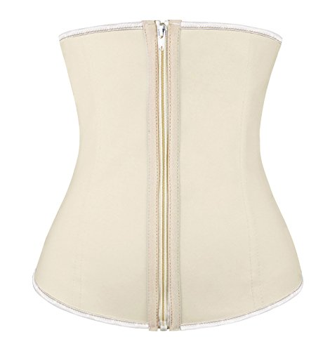 Charmian Women's Latex Underbust Waist Training Cincher Steel Boned Hourglass Shapewear Corset with Zipper Zipper-Apricot ()