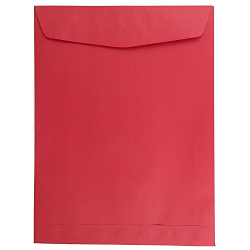 """JAM Paper 9"""" x 12"""" Open End Catalog Envelopes with Gum Closure - Christmas Red - 100/pack"""