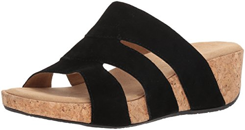 ADRIENNE VITTADINI Footwear Women's Daytona Wedge Sandal, Black-sd, 9 Medium US (Adrienne Vittadini Wedge Shoes)
