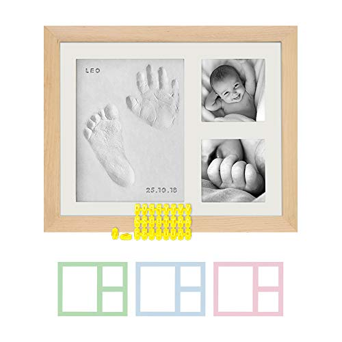 Baby Handprint Footprint Photo Frame Kit by Kubai for Newborn Girls & Boys (Free Date & Name Stamp) Choice of Mats to fit Room Wall Nursery - Mold Free - ()