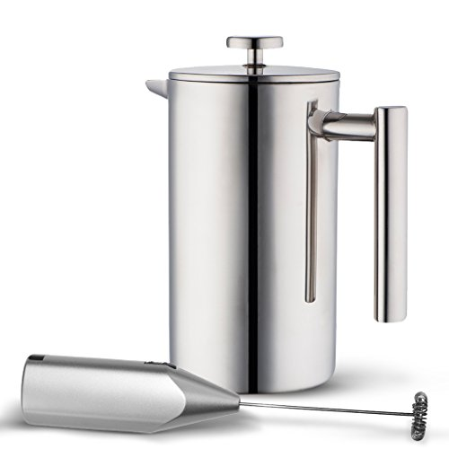 Double Wall Tea & Coffee Brewer | Stainless Steel Coffee Pot & Maker – French Press 1 Liter 34 Oz Coffee Pot with Bonus Milk Frother | by MIRA For Sale