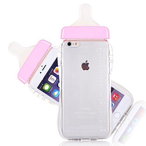 Price comparison product image 6S Plus Case, CHIBI Cute Baby Pacifier Milk Feeding Bottle Shape Soft TPU Clear Case Back Cover for iPhone 6/6s Plus 5.5inch (Pink)