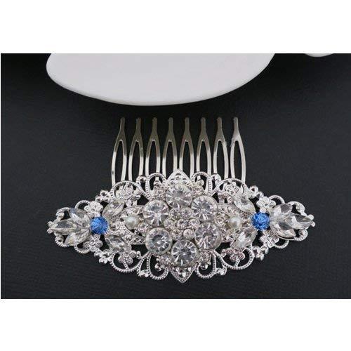 Accented Flower Brooch - Blue Bridal Hair Comb Vintage Wedding Hair Piece Art Deco Flower Rhinestone Cubic Zirconia Gatsby Downton Abbey Hair