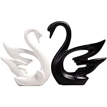 PeggyHD Ceramic Swan Figurines Couple Animals Sculpture Lover Craft Ornament Home Decorative Gift 2pcs/Set (Couple Swans)