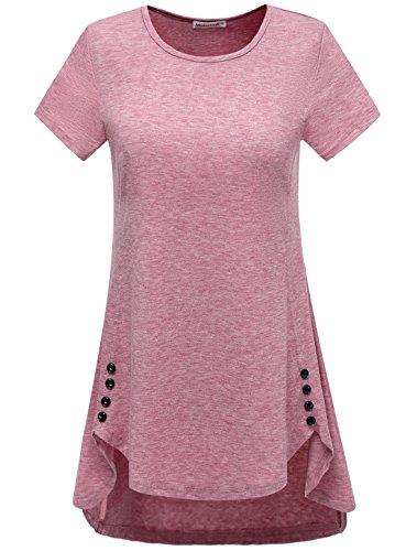 Modecrush Women's Long Tunic Shirt for Legging Activewear Workout Top Blouses Unique Button Decor L PurplishRed