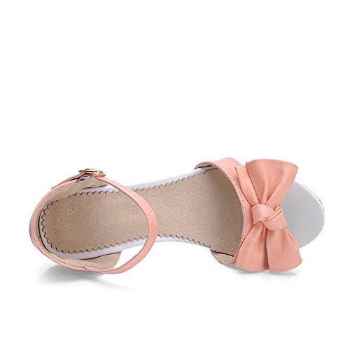 Amoonyfashion Mujer's Open Toe Kitten-heels Soft Material Solid Hebilla Cuñas-sandalias Rosa