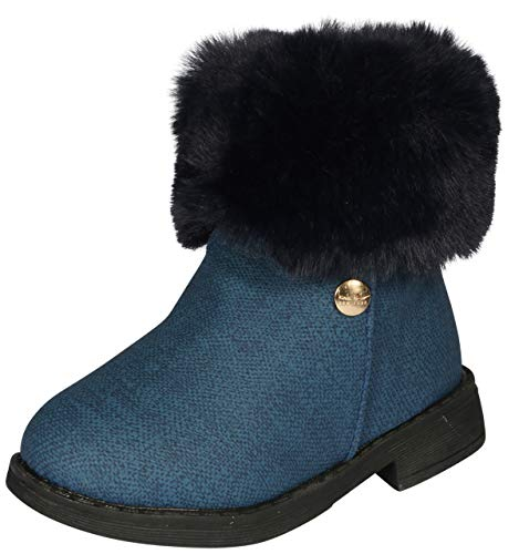 Nicole Miller New York Toddler Girls Faux Fur Trim Ankle Boot, Blue, 7 M US Toddler'